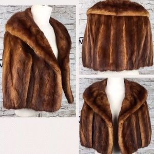 Jackets & Blazers - Vtg 60s Red Brown Mink Fur Shawl Stole